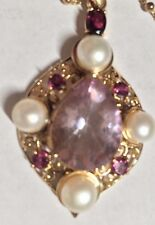 """Treasures of India Multi Gems & Pearl Sterling Pendant GoldTone w/Chain 20Gm18""""L"""