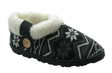 Aztec Pattern Knit Booties Slippers w/ Sherpa Cuff Trim & Button Decoration