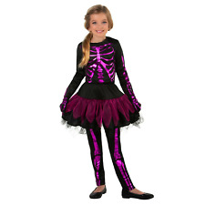 Girl In the Pink Skeleton Halloween 4-Pc Costume Dress Up Medium M 8-10