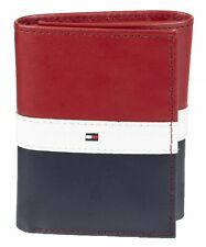Tommy Hilfiger RFID Blocking Navy Red Leather Trifold Men's Wallet 31TL110022