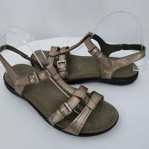 Ecco Womens 8.5M Sandals Low Heel Open Toe Muted Gold