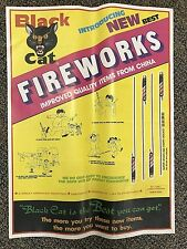 "RARE Vintage Li & Fung BLACK CAT Bottle Rocket Fireworks POSTER 23"" firecrackers"