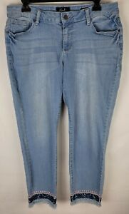 Earl Jeans Skinny Ankle Womens Size 14P Light Blue Embroidered Denim Jeans