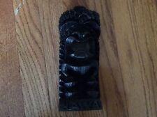 """NWT HAWAIIAN Carved Tiki Farm house decor Polynesian Black LAVA God figurine 9"""""""