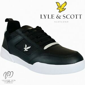 Lyle And Scott Men's Trainers Gilzean Black Leather And Mesh Lace Up Size 9 Uk