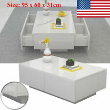Modern High Gloss White Coffee Table Side End Table Living Room Furniture Drawer