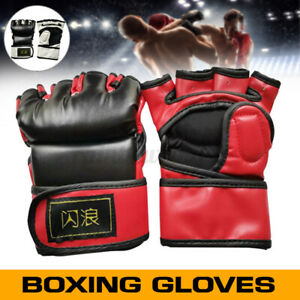 1 Pair Leather Sparring Boxing Gloves Training Punching Speed Training Hal