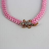 Rosa Armband mit glitzerndem Gecko, Eidechse, Universalgröße