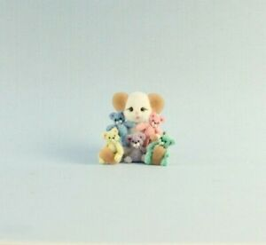 OOAK~White Mouse~Pastel Teddy Bears~Artist Doll~Baby Toy~Dollhouse~Cheryl Brown