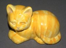 Vintage Yellow Porcelain Cat Figure Figurine Statue 5""