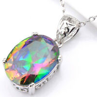 Handmade Natural Rainbow Mystic Topaz Silver Necklace Pendants with Free Chain