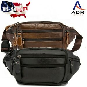 Leather fanny pack waist pack gear pack multi pockets, zippers adjustable strap