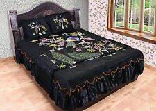 Vintage Peacock Design Black Silk BedSheet Quilt Pillowcase Bedding set