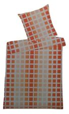 Villa Noblesse Renforce Bettwäsche Set 2 teilig 135 x 200 cm orange kariert