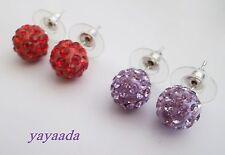 2 pares de Cristal Bola de Discoteca Perlas Aretes mezcla de colores.