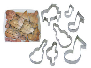 Musical Instruments Cookie Cutter 7 pc Set Piano Violin Guitar Music Note G clef