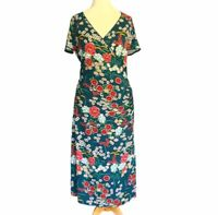 Joe Browns Teal Green Floral Flattering Mock Wrap Dress UK Size 12 Stretch Boho
