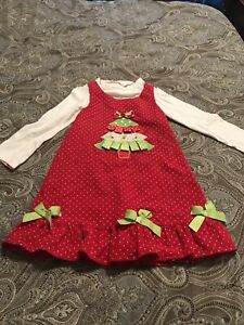 RARE EDITIONS Little Girl's 6X Christmas Tree Corduroy Jumper Set