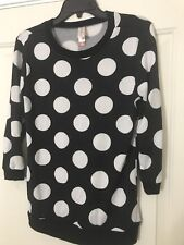 No Boundaries Black W/ White Polka Dots Long Sleeve Shirt M (7-9)