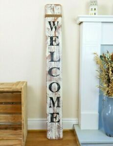 """Large Wood Welcome Sign Porch Sign Door Sign Weathered Aged 47"""" Tall Handmade UK"""