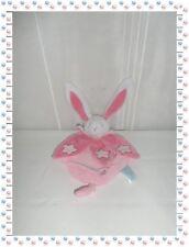 W - Doudou Plat Lapin Rose Blanc Etoiles Luminescent Baby Nat
