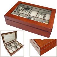ASTIN OF LONDON® LUXURY WALNUT WOOD 10 WATCH WOODEN DISPLAY CASE STORAGE BOX