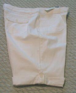 Womens Charter Club White Cotton/Spandex Bermuda Shorts/Skimmers, 18, NWT