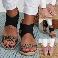 ❤️ Women Summer Zipper Wedge Heel Sandals Ladies Espadrilles Platform Shoes Size