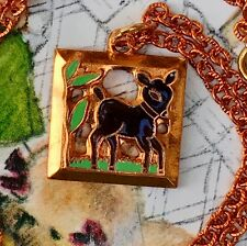 Bambi Necklace,Deer Necklace, Copper Necklace,child necklace,Emmons Signed G29A