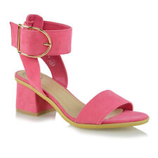 Ladies Ankle Strap Sandals Low Block Heel Womens Peep Toe Party Shoes Size