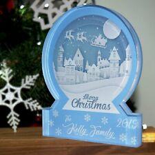 Personalised Christmas Village Snow Globe Acrylic Themed Ornament Bespoke Gift