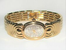Signed RAYMOND WEIL Ladies Watch 18k Gold Plated Clear Crystal Quartz 3768