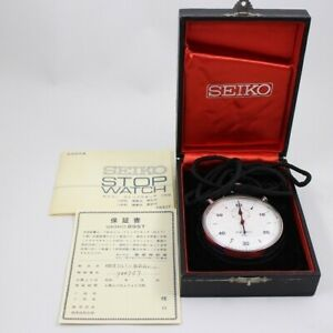 SEIKO Unisex Stop watch Stainless Steel Silver White Dial Pattern Sport b525