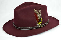 Wine Crushable Felt Fedora Cowboy Hat 100% Felt Wool - Men & Women