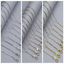 Multi-style Classic Real 925 Sterling Silver Chain Necklace SOLID Jewelry Italy