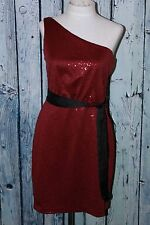 Max And Cleo by BCBG Sequin One Shoulder Claudia Red Event Mini Dress S 4