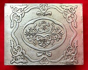 """Hand Tooled Bolivian Pewter Wood Tea Chest Storage Box Dividers Cochabamba 8.5"""""""
