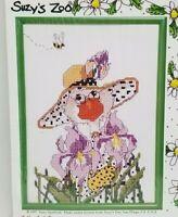 Janlynn Suzy's Zoo Friends Flowers counted cross stitch kit frame Goose Iris