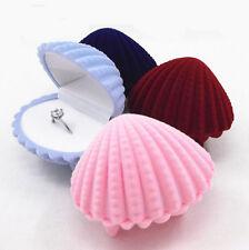 Shell Shape Earrings Display Box Necklace Ring Gift Jewelry Case Velvet Lovely