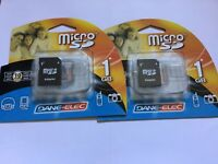 Lot of NEW 2pcs 1gb microSD memory CARD +2adapters+cases for cameras and cell