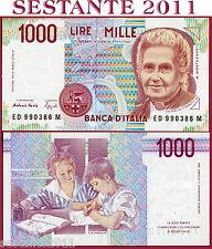 ITALIA  ITALY 1.000 1000 Lire MONTESSORI  Lettera  D -  1994 -  P 114b - FDS/UNC