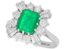 Vintage 2.05 Ct Emerald and 1.23 Ct Diamond 18k White Gold Cluster Ring 1986