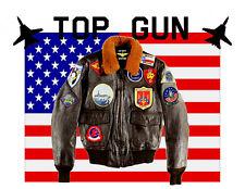 "Giubbotto in vera pelle da pilota US NAVY ""TOP GUN"" Marrone"