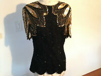 VTG STENAY Black gold 100% Silk Sequin Beaded Womens Top Size 6