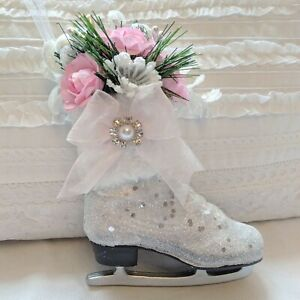 Shabby Victorian Cottage Chic Ice Skate Pink Roses Glitter Christmas Ornament