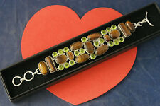 """925 Silver Bracelet With Peridot and Tiger Eye  Gems 56.9  Gr.7."""" 5 Inches Long"""