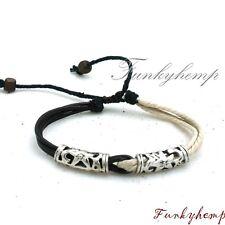 Hemp Leather Bracelet w silver Tube Beads H17-1