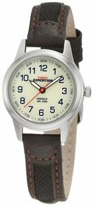 """Timex T41181, Women's """"Expedition"""" Brown Leather Watch, Indiglo"""