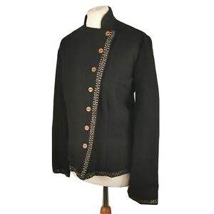 Toast Size 14 Black Double Breasted Military Style Wool Jacket Buttons Fitted