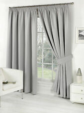 Pair of Silver Grey 66 Width X 90 Drop Supersoft Thermal Blackout Curtains of